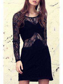 Solid Color Lace Spliced See-Through Long Sleeves Dress - Black Xs