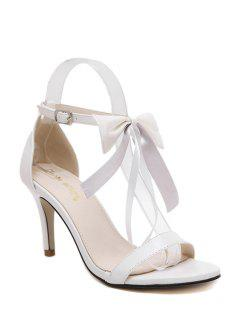 Bowknot Stiletto Heel Ankle Strap Sandals - White 39