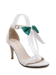Bowknot Stiletto Heel Ankle Strap Sandals - Green 39