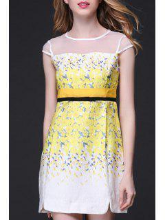 Mesh Design Tiny Floral Dress - Yellow Xl