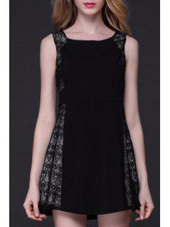 Lace Patchwork A-Line Tank Dress - Black Xl