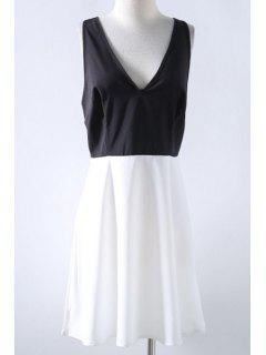 Spliced Plunging Neck Cut Out Dress - White Xl