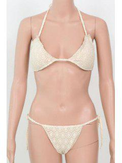 Pure Color Halter Bikini String Set - Blanc L