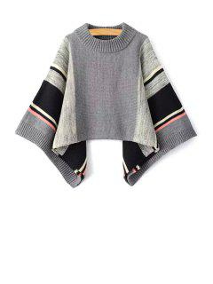Color Block Round Neck Bat-Wing Sleeve Sweater - Black And Grey