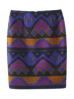Geometric Pattern High Waist Skirt - Purple L
