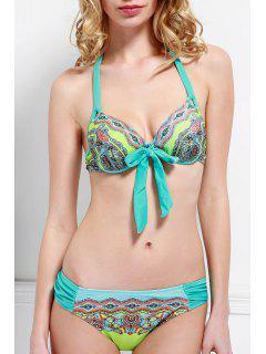 Green Print Halter Bikini Set - Lake Blue S