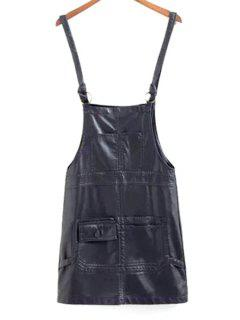 PU Leather Straps Black Dress - Black L