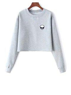 Alien Embroidered Cropped Sweatshirt - Light Gray