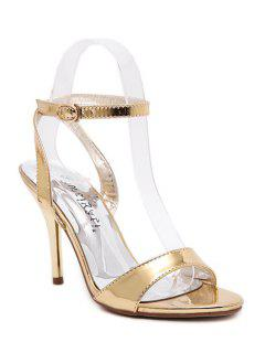 Metallic Color Ankle Strap Stiletto Heel Sandals - Golden 39
