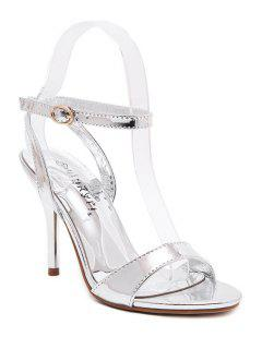 Metallic Color Ankle Strap Stiletto Heel Sandals - Silver 39
