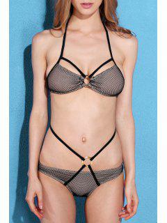 Mesh Halter Bikini Set - Black L