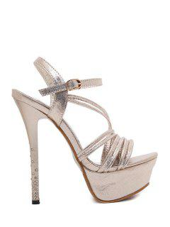 Metallic Color Platform Stiletto Heel Sandals - Light Gold 39