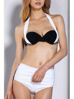 Mit Hoher Taille Halter-Farben-Block-Bikini-Satz - Weiß Xl