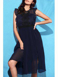 Lace Spliced Round Collar Sleeveless Waisted Dress - Cadetblue L