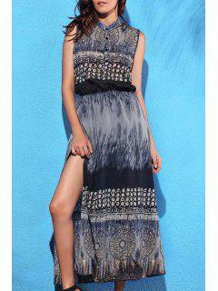 High Slit Stand Collar Printed Dress - Black L