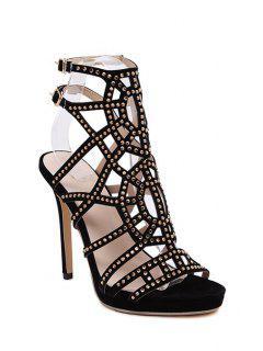 Rhinestones Hollow Out Stiletto Heel Sandals - Black 39