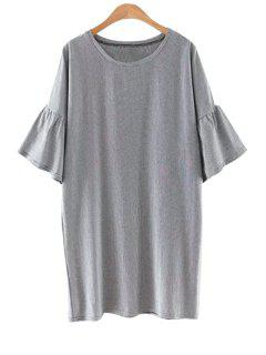 Striped Round Collar Flare Sleeve Dress - Gray L