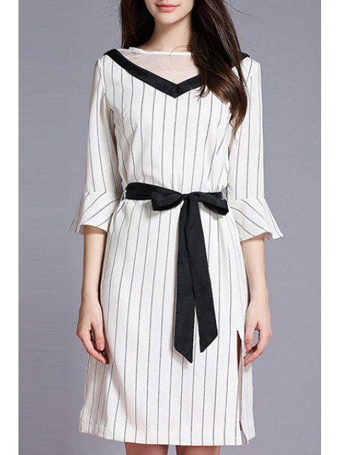 Striped Side Vent Contraste Ceinture Robe - Blanc XL Mobile