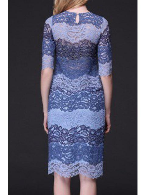 hot Color Block Ribbed Lace Top + Tube Skirt Twinset - BLUE L Mobile