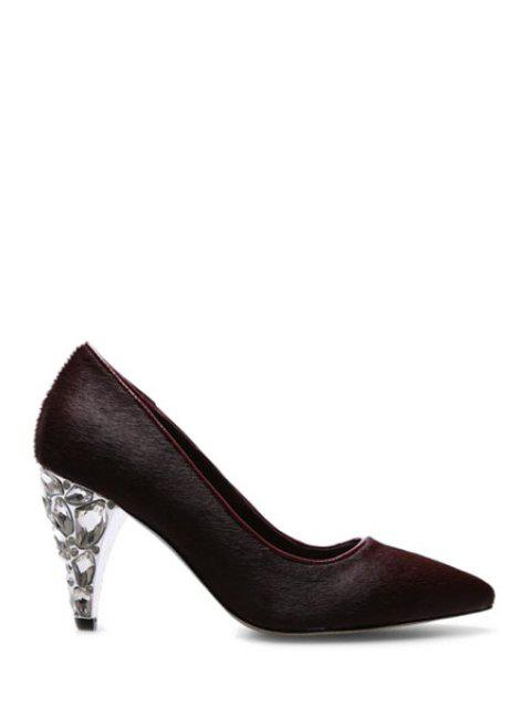 hot Rhinestone Horsehair Pointed Toe Pumps -   Mobile