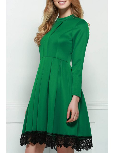 trendy Lacework Stand Collar Flare Dress - GREEN XL Mobile