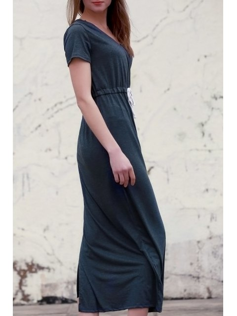 latest Deep Gray V Neck Short Sleeve Maxi Dress - DEEP GRAY M Mobile