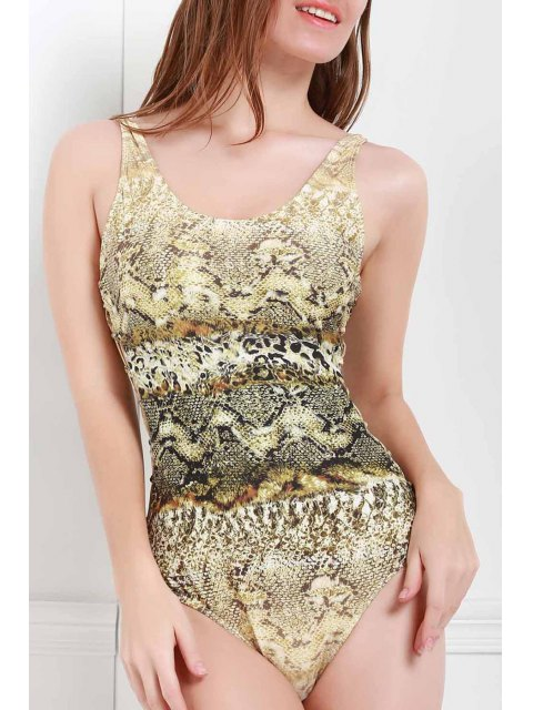 sale Scoop Neck Snake Print One-Piece Swimwear - COLORMIX L Mobile