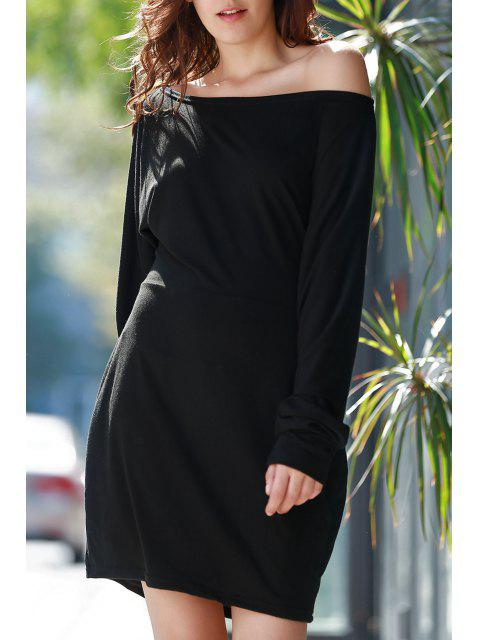 women Skew Neck Packet Buttocks Sheath Dress - BLACK L Mobile