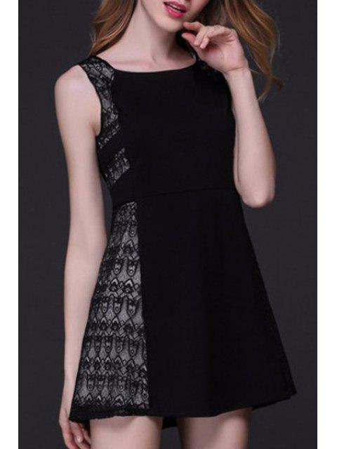 Patchwork A-Line Tank Dress Lace - Noir XL Mobile
