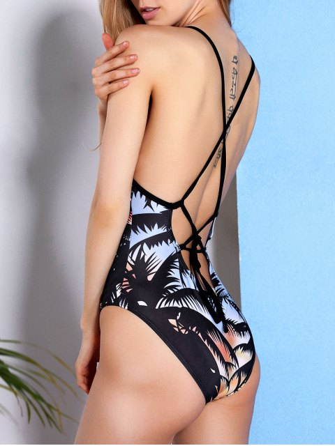 Chic Coconut Trees Imprimé Retour Criss-Cross One-Piece Maillots de bain pour les femmes - Multicolore 2XL Mobile