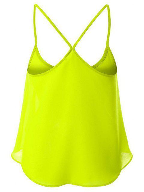 fashion Candy-Colored Chiffon Cami Top - YELLOW XL Mobile