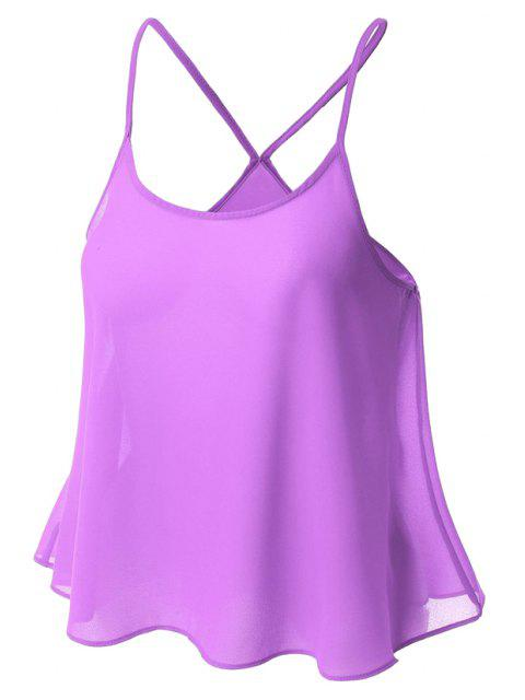 shop Candy-Colored Chiffon Cami Top - PURPLE XL Mobile