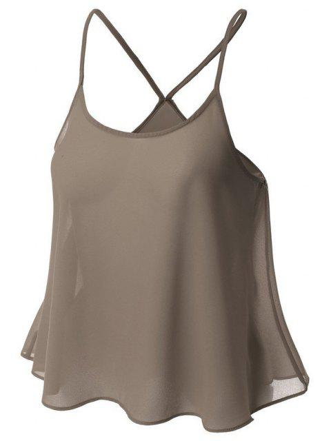 lady Candy-Colored Chiffon Cami Top - GRAY S Mobile