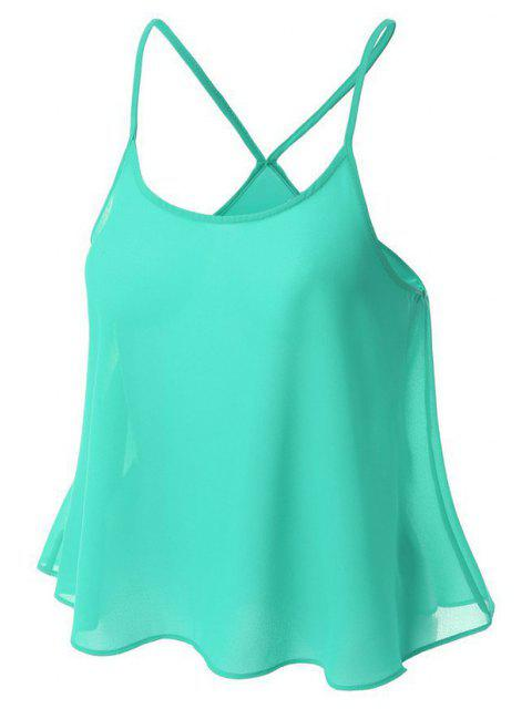 Top cami femme chiffon à couleur de bonbon - LIGHT GREEN L Mobile