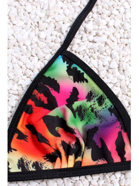 buy Colored Leopard Print Halter Bikini Set - LEOPARD L Mobile