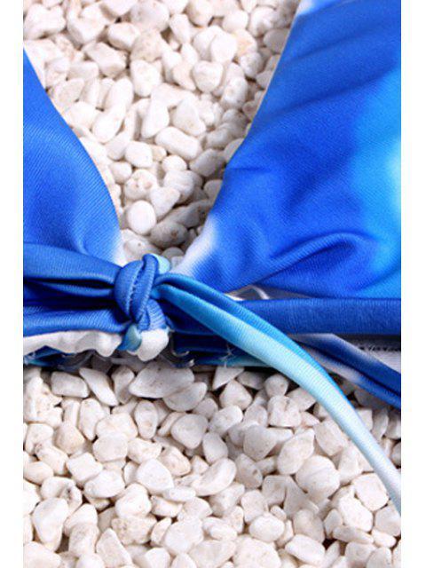 latest Tie Dye Halter Bikini - BLUE AND WHITE S Mobile