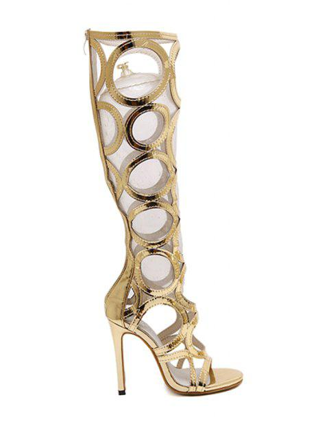 fancy Stiletto Heel Hollow Out Solid Color Sandals - GOLDEN 35 Mobile