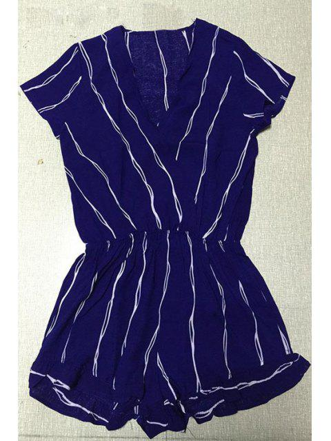 womens Cross-Over Collar Striped Playsuit - PURPLISH BLUE L Mobile