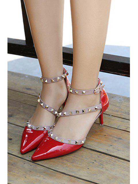 affordable Pointed Toe Rivet Color Block Pumps -   Mobile