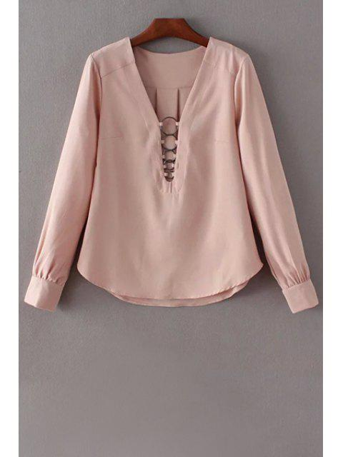 outfits Solid Color Long Sleeve Plunging Neck Blouse - PINK M Mobile
