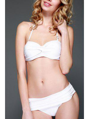 Solid Color Strapless Push-Up Bikini Set