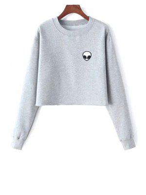 Crop Sweatshirt mit Alien Stickerei