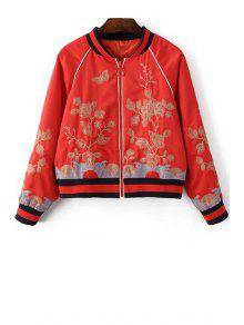 Floral Embroidered Stand Neck Long Sleeve Jacket - Red L