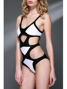 Color Block Bandage One-Piece Swimwear - White And Black M