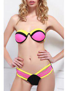 Color Spliced Strapless Bikini Set - Rose S