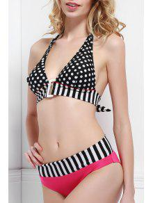Stripe Polka Dot Color Block Bikini Set - Black And White And Red M