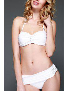 Solid Color Strapless Push-Up Bikini Set - White M