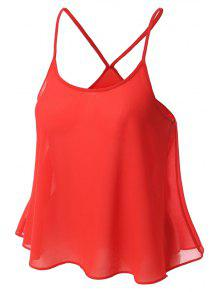Candy-Colored Chiffon Cami Top - Red L