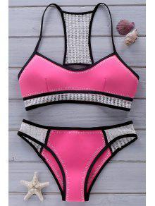Ahueca Hacia Fuera Las Correas De Espagueti Del Bikini Set - Rosa S