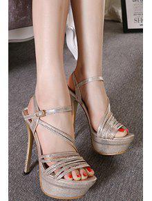 100b17b19e0 34% OFF  2019 Metallic Color Platform Stiletto Heel Sandals In LIGHT ...